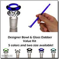Bol en verre double couche mâle avec un kit verre dabber bong accessoire cônes à fumer pipes pour joint 14mm 18mm
