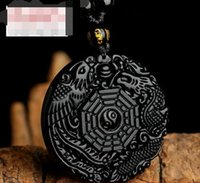 Obsidian dragon and phoenix chengxiang men' s pendant qi...