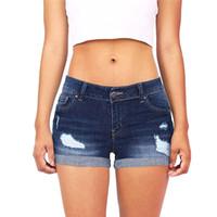 2018 Moda Feminina Verão Jeans Cintura Baixa Lavado Rasgado Buraco Curto Mini Jeans Calças Jeans Shorts Femme Sexy Shorts # K30