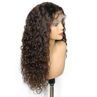 Malasia de densidad completa 360 encaje frontal peluca remy agua onda pelucas 360 frente de encaje humano Remy pelucas de pelo para mujeres