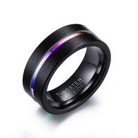 남자에 대 한 남성 블랙 반지 품질 8 mm 텅스텐 카바 이드 밴드 반지 무거운 철강 펑크 반지