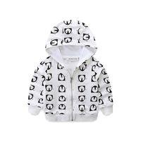 Fshion bébé Vêtements pour enfants Manteau À Capuche Veste Zip Penguin Impression Cartoon Cardigan Garçons et filles Vêtements en coton