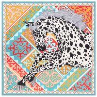Vintage Piazza Grande Horse Stampa Seta Scialli Womens sciarpa Echarpe En Soie animale arancione saia dello scialle Dropshipping 130 * 130