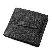 Новая мода повседневная бизнес мужские короткие кожаный бумажник дизайнер бренд Европейский и американский стиль Крокодил глава бумажник кредитной карты бумажник