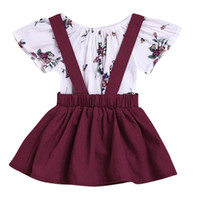 Puseky Infant Baby Kids Ruffles Short Sleeve Cotton Floral Tops Romper Suspender Dress Overalls Outfits Newborn Girls Cloth Set