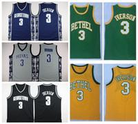 Mens Allen Iverson 3 Bethel High School Maillot De Basket-ball Pas Cher Allen Iverson Georgetown Hoyas College Chemises De Basket-ball Surpiquées S-XXL