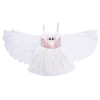 Baby girls swan wings dress children suspender princess dres...