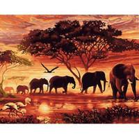 Sans cadre peinture vintage coucher de soleil éléphant paysage bricolage peinture par numéros mur Art peint à la main peinture à l'huile sur toile 40x50cm