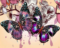 "5D DIY Diamond Painting "" purple butterfly"" Embroid..."