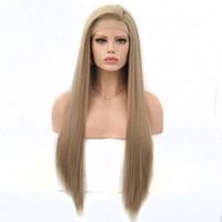 Uzun İpeksi Düz Sentetik Dantel Açık Peruk Açık Kahverengi Sarışın Isı Beyaz Kadınlar için Dirençli Elyaf Saç
