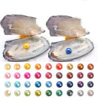 Kostenloser Versand 2019 Perlmuschel mit natürlichen Grade 6-7 mm Runde: Bunt Süßwasser Wunsch-Perlen-Vakuumverpackung für Kinder Party Spaß-Geschenke