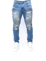 Men Light Blue Jeans Ripped Design Draped Slim Fit Biker Tro...