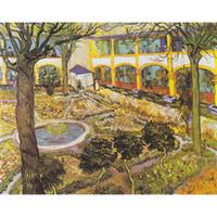 El yapımı sanat yağlıboya Arles Vincent Van Gogh Asylum Bahçesi resim için yatak odası dekor Yüksek kalite