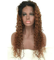Ombre Blonde Human Hair Full Lace Wig Peruvain Virgin Hair 1...