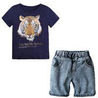 Летние мальчики одежда набор детские дети мальчики одежда мультфильм футболка джинсовые шорты детская одежда набор
