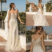 2019 Berta Mermaid Wedding Dresess Perles Spaghetti Dentelle Appliqued Balayage Train De Plage Robe De Mariage Sur Mesure Plus La Taille Robes De Mariée