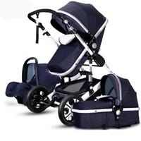 Luksusowy wózek dziecięcy 3 w 1 Wysoki krajobraz Pram Składany Wózek Fotelik samochodowy Mainstream Kolor Czarny Szary od 0 do 3 lat