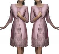 Vintage Diz Boyu Anne Kapalı Gelin Damat Artı Boyutu Sık Kullanılanlar Uzun Ceket Aplikler Dantel Düğün Konuk Elbiseler Anne Gelin Elbiseler