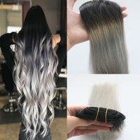 인간의 머리카락 확장에 딥과 염색 Ombre 클립 Remy 풀 헤드 어둠에 페이딩 회색 확장 기능에 버진 클립 7pcs 120gram