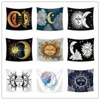 Sun moon face tapestry wall decoration multifunction printin...