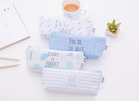 Student Pen Bag Nice Canvas Pencil Case Korean Cute Office S...