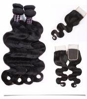 Vattenvåg Mänskliga hårbuntar 3 st med spetsavslutning Mink brasiliansk rak jet naturlig svart färg vävar djupt för kvinnor tjejer alla åldrar
