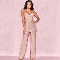 4675536f5b3 2018 Moda Elegante Mujeres Beige Rayas Correa de Espagueti Vendaje Mono Sexy  Summer Celebrity Party Jumpsuits