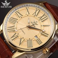 Gold Automatic Mechanical Watch Men SEWOR Luxury Brand Vinta...