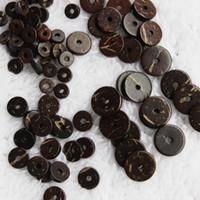 200 unids Natural Coconut Shell Spacer Beads Flat Round Beads sueltos Fit DIY pulsera fabricación de joyas 2x6mm 2x8mm 2x10mm 2x12mm tamaño