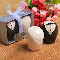 結婚式の贈り物とお土産のためのお土産/セット花嫁と新郎新婦の陶磁器塩とペッパーシェーカーイベントパーティーのお支払いDHL送料無料