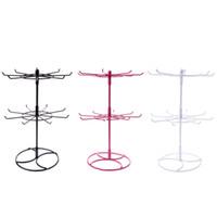 Venta caliente Collar de Metal Pulsera de Cadena Rotación sostenedor de la exhibición de moda 2 niveles Soporte de exhibición de la joyería Rack bufandas corbata peluca pulsera Percha