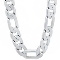 """Стерлингового серебра 925 10 мм мужчины Фигаро ожерелье цепь для мужчин 18"""",20"""",22"""",24"""",925 стерлингового серебра ожерелье, ювелирные изделия"""