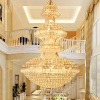 LED الحديثة الكريستال الثريات أضواء تركيبات الأمريكية كبيرة الذهبي الثريا مصابيح فندق الردهة قاعة درج الطريق فيلا المنزل الإضاءة الداخلية
