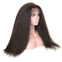 Front Lace Kinky Straight Wig 180% Density Natural Color Bra...