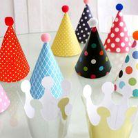 11PCS / PhotographKids 생일 결혼식 크리스마스 파티 장식 용품 다채로운 아기 생일 모자 DIY 종이 모자를 설정