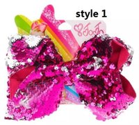 "12style 7"" Large Mermaid Sequin Ribbon Hair Bow Reversi..."
