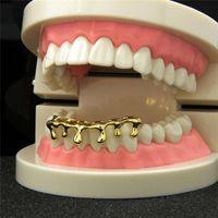 Hip Hop Custom Fit goteo Grillz chapados en oro 14k Hip Hop dientes Caps Baje Parrillas Bottom