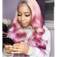 Neuer Stil Lange wellig synthetische Perücken blonde Ombre rosa Spitze vorne Perücke synthetische hitzebeständig für schwarze Frauen geflochten werden können