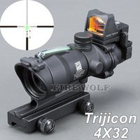 Trijicon ACOG Новый прицел 4x32 Riflescope Red Green Optical Fiber Rifles Red Dot Бесплатная доставка