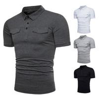 Мужская твердая рубашка Slim Fit с коротким рукавом лето повседневная базовая футболка 4 цвета рубашки с карманами