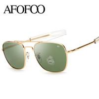 AFOFOO Klasik AO Güneş Marka Tasarım Moda Erkekler Kare Metal Çerçeve Cam Lens Güneş Gözlük masculino gözlük