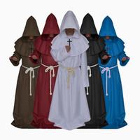 5 Cor Pastor Traje Cosplay Renascentista Medieval Do Dia Das Bruxas Equipamento Monge Robe Macho Monge Cape Manto