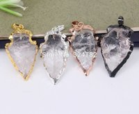 5pcs Nature Clear Quartz Crystal Arrow pendant, Metal Mixed c...