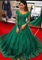2020 сексуальные вечерние платья с длинным рукавом Изумрудные зеленые кружева Pro Зеленые Плюс Размер платья знаменитостей Женщины Официальные выпускные вечеринки платья красный карб