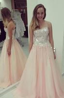 Long Silver блесток линию Розовый Pageant Вечерние платья Женские платья Мода Люкс для особых случаев Пром невесты платье партии 17LF882