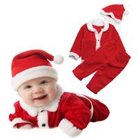Noel Bebek kız erkek kıyafetler çocuk Noel Baba top + pantolon ile şapka 3 adet / takım 2018 moda Noel çocuk Giyim Setleri C5131