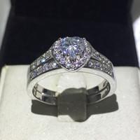 Vecalon сердце ювелирные изделия обручальное кольцо Кольцо набор для женщин 1ct 5A Циркон Cz 10KT белого золота заполнены женский обручальное кольцо
