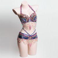 Nuevo traje de danza del vientre para mujer traje ropa de danza del vientre Sexy danza de la danza del vientre Carnaval Tops Cadena BRA Belt 181090