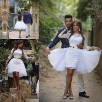 2020 Arabisch Dubai Lace Short Brautkleider mit abnehmbaren Rock Bateau 3/4 Langarm Mini-Brautkleider Empfang nach Maß