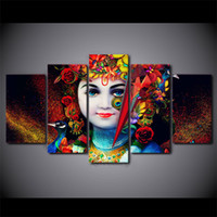 HD Printed 5 Pieces Canvas Art India God Radha Krishna Paint...